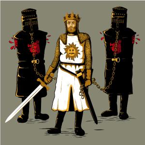 dessin t-shirt Le roi Arthur et le chevalier noir geek original