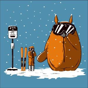 dessin t-shirt Totoro fait du ski geek original