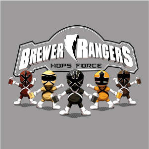 dessin t-shirt Power Rangers et biére geek original
