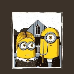 dessin t-shirt American Gothic Minion geek original