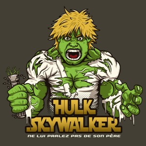 dessin t-shirt Hulk Skywalker pour un « Star wars Avengers » geek original