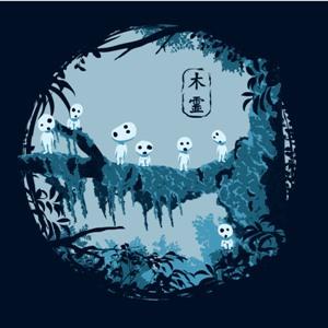 dessin t-shirt Les Kodomas en forêt geek original