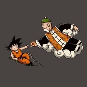 dessin t-shirt Grandpa Songoku geek original