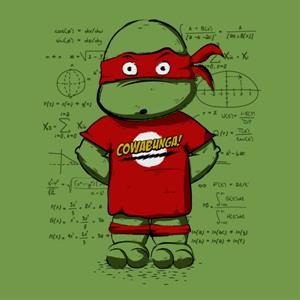 dessin t-shirt Sheldon Cooper & Tortue Ninja geek original