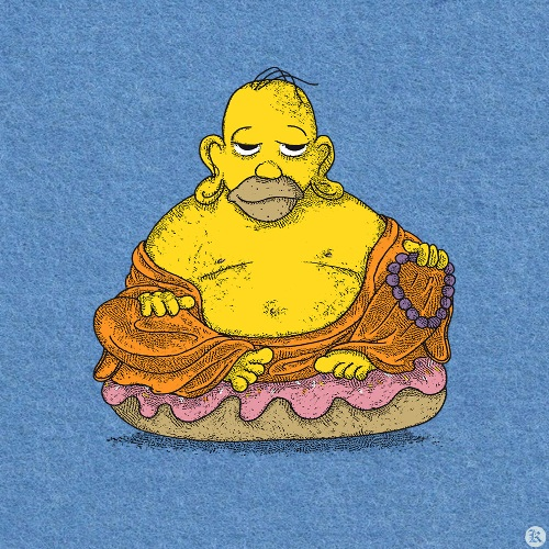 dessin t-shirt Bouddha Homer geek original