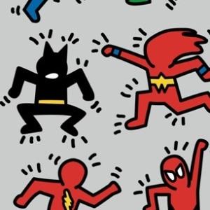 zoom t-shirt K. Haring et les Super Heros geek original