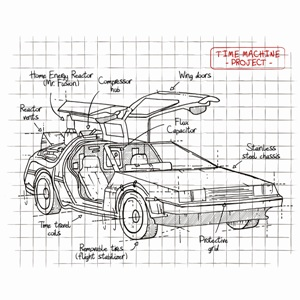 dessin t-shirt Delorean plan geek original