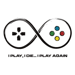 t-shirt I play, I die (manette console)