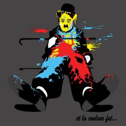 t-shirt Charlie Chaplin en couleurs