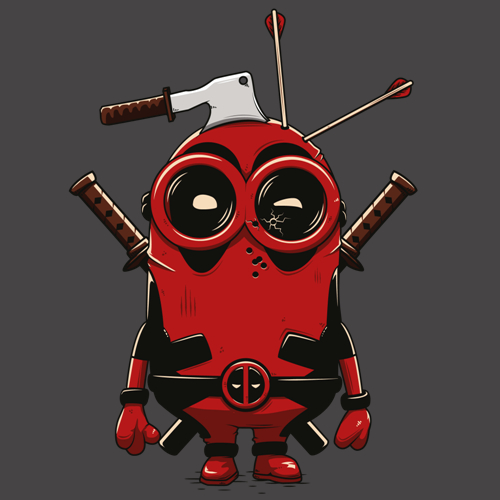 Deadpool minion tee shirt humour 100 geek coton bio - Dessin deadpool ...