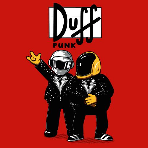 Duff Bi 232 Re T Shirt Simpson Daft Punk Coton Biologique
