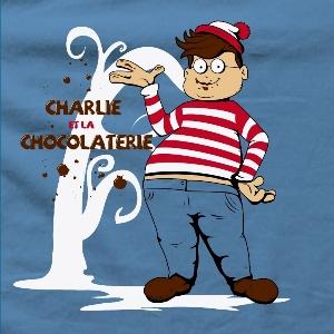 dessin t-shirt Où est Charlie et la chocolaterie geek original