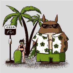dessin t-shirt Totoro fait du surf geek original