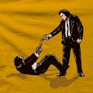 dessin t-shirt Pulp Fiction vs Reservoir Dogs geek original
