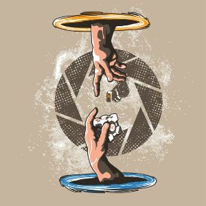 dessin t-shirt Portal, Glados et la chapelle Sixtine geek original