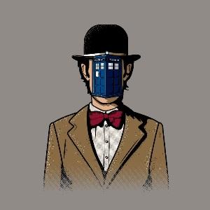 dessin t-shirt Magritte et le Tardis geek original
