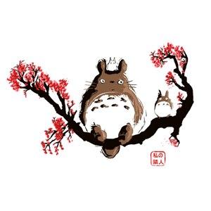 dessin t-shirt Totoro sur sa branche geek original