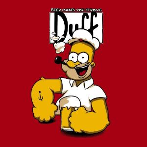 dessin t-shirt Popeye & Homer geek original