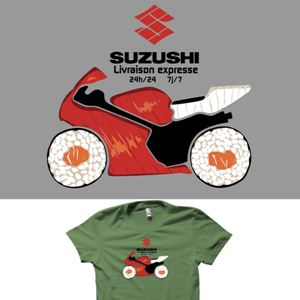 dessin t-shirt Suzuki & Sushi geek original