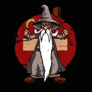 dessin t-shirt Gandalf mixé avec Panoramix geek original
