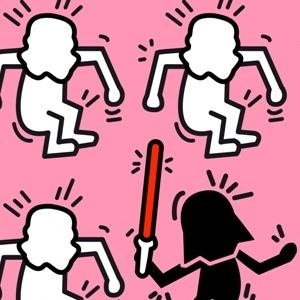 zoom t-shirt Keith Haring et Star Wars geek original