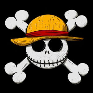 dessin t-shirt Jack Skellington & Luffy D. Monkey geek original