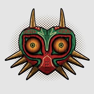 dessin t-shirt Majora's Mask en bois geek original
