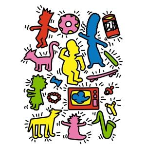 dessin t-shirt Keith Haring et les Simpsons geek original