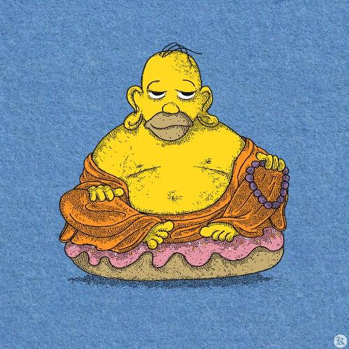 dessin t-shirt Bouddha Homer geek original