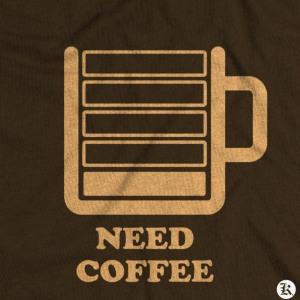 dessin t-shirt Besoin de café geek original