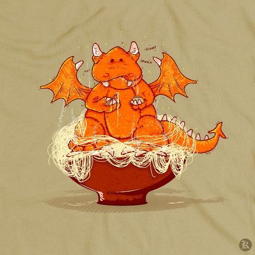 dessin t-shirt Petit dragon geek original