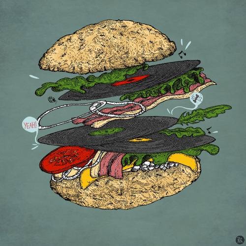 dessin t-shirt Hamburger Vinyl geek original