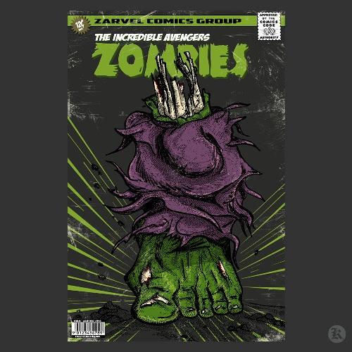 dessin t-shirt Hulk le zombie geek original