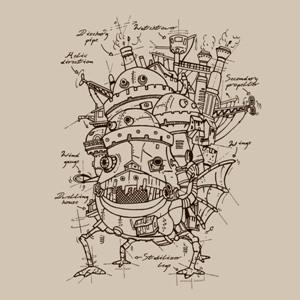 dessin t-shirt Les plans du Château de Miyazaki geek original