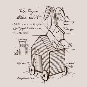 dessin t-shirt Le lapin de Troie geek original