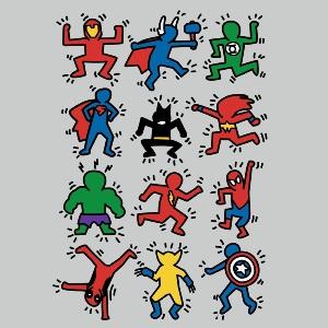 dessin t-shirt K. Haring et les Super Heros geek original