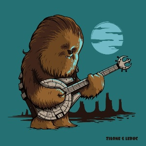 dessin t-shirt Chewbacca blues geek original