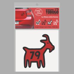 t-shirt Sticker Chèvre noire et rouge